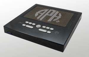 A black, square device with gray buttons in the bottom center. The digital interface displays the companies acronym APH.