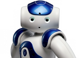The friendly looking white and blue NAO robot stands with his elbows bent and looks forward.